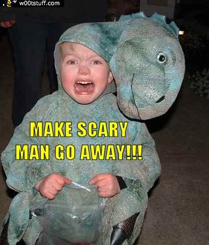 Make scary man go away