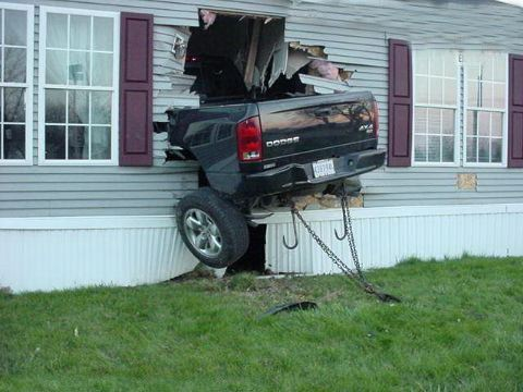 Horrible crash into a house