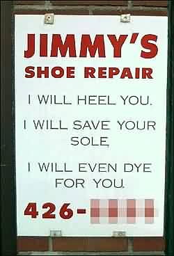 Clever shoe repair ad