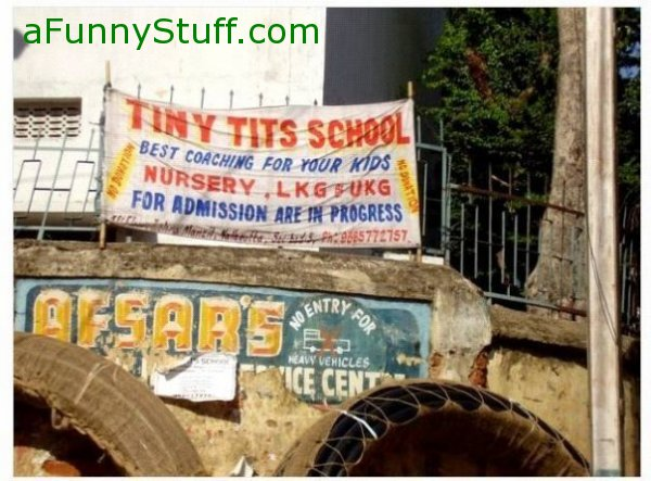 Funny pictures : A schools banner in india
